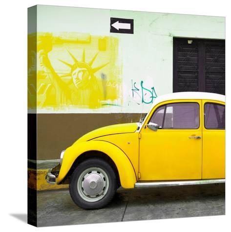 ¡Viva Mexico! Square Collection - Yellow VW Beetle Car and American Graffiti-Philippe Hugonnard-Stretched Canvas Print