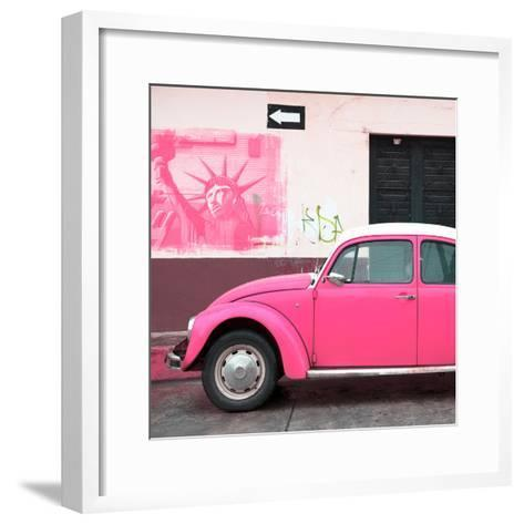 ¡Viva Mexico! Square Collection - Pink VW Beetle Car and American Graffiti-Philippe Hugonnard-Framed Art Print