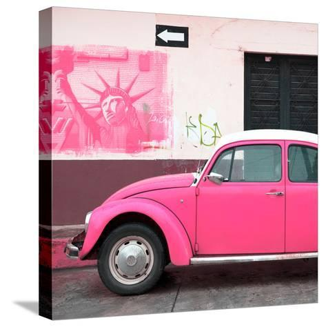 ¡Viva Mexico! Square Collection - Pink VW Beetle Car and American Graffiti-Philippe Hugonnard-Stretched Canvas Print