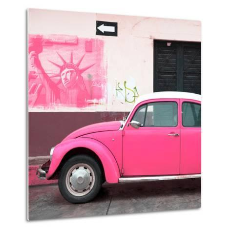 ¡Viva Mexico! Square Collection - Pink VW Beetle Car and American Graffiti-Philippe Hugonnard-Metal Print