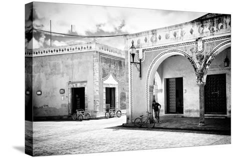 ¡Viva Mexico! B&W Collection - Urban Scene in Izamal II-Philippe Hugonnard-Stretched Canvas Print