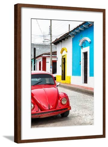 ¡Viva Mexico! Collection - Red VW Beetle Car and Colorful Houses II-Philippe Hugonnard-Framed Art Print