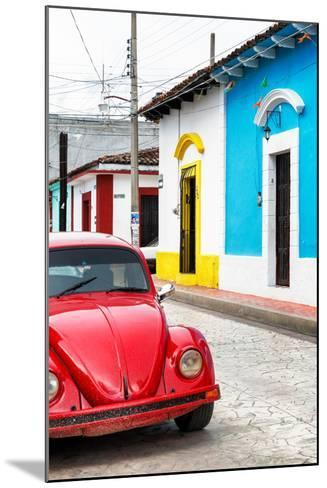 ¡Viva Mexico! Collection - Red VW Beetle Car and Colorful Houses II-Philippe Hugonnard-Mounted Photographic Print