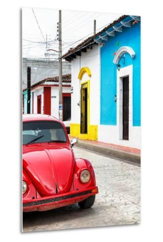 ¡Viva Mexico! Collection - Red VW Beetle Car and Colorful Houses II-Philippe Hugonnard-Metal Print