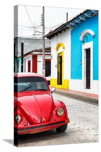 ¡Viva Mexico! Collection - Red VW Beetle Car and Colorful Houses II-Philippe Hugonnard-Stretched Canvas Print