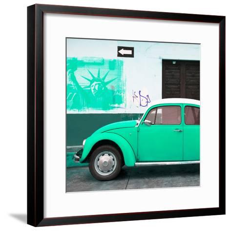 ¡Viva Mexico! Square Collection - Coral Green VW Beetle Car and American Graffiti-Philippe Hugonnard-Framed Art Print