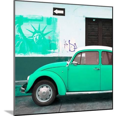 ¡Viva Mexico! Square Collection - Coral Green VW Beetle Car and American Graffiti-Philippe Hugonnard-Mounted Photographic Print