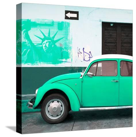 ¡Viva Mexico! Square Collection - Coral Green VW Beetle Car and American Graffiti-Philippe Hugonnard-Stretched Canvas Print