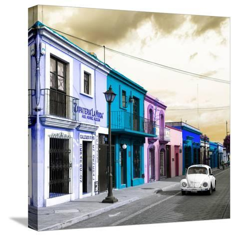 ¡Viva Mexico! Square Collection - Colorful Facades and White VW Beetle Car IV-Philippe Hugonnard-Stretched Canvas Print
