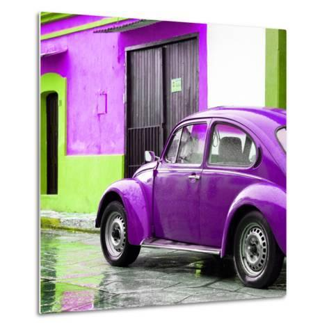 ¡Viva Mexico! Square Collection - VW Beetle and Purple Wall II-Philippe Hugonnard-Metal Print