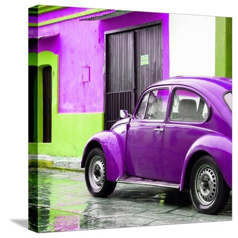 ¡Viva Mexico! Square Collection - VW Beetle and Purple Wall II-Philippe Hugonnard-Stretched Canvas Print
