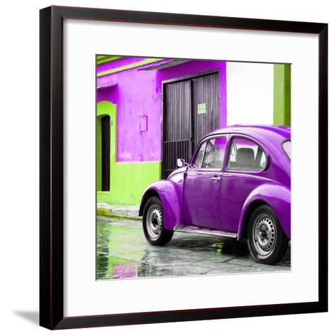 ¡Viva Mexico! Square Collection - VW Beetle and Purple Wall II-Philippe Hugonnard-Framed Art Print