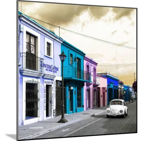¡Viva Mexico! Square Collection - Colorful Facades and White VW Beetle Car IV-Philippe Hugonnard-Mounted Photographic Print