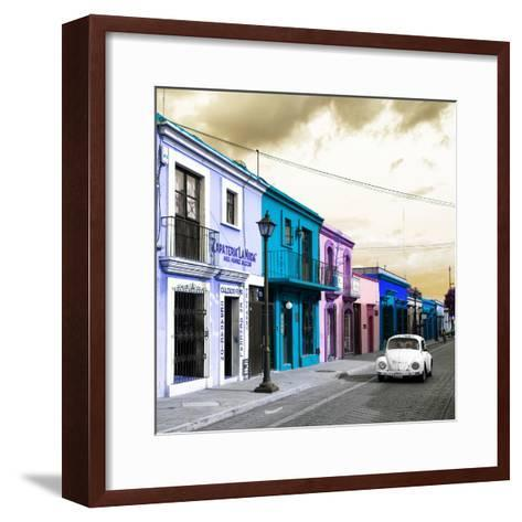 ¡Viva Mexico! Square Collection - Colorful Facades and White VW Beetle Car IV-Philippe Hugonnard-Framed Art Print