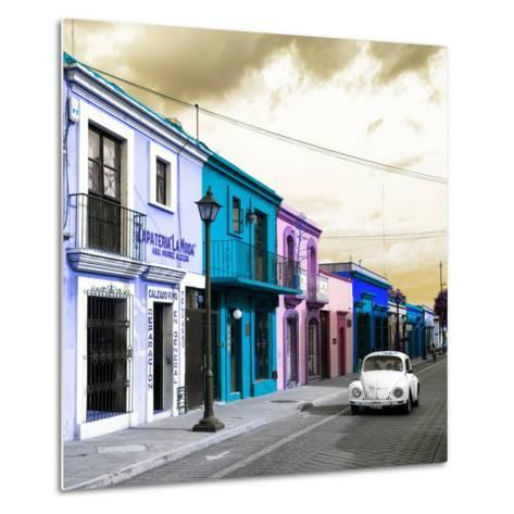 ¡Viva Mexico! Square Collection - Colorful Facades and White VW Beetle Car IV-Philippe Hugonnard-Metal Print