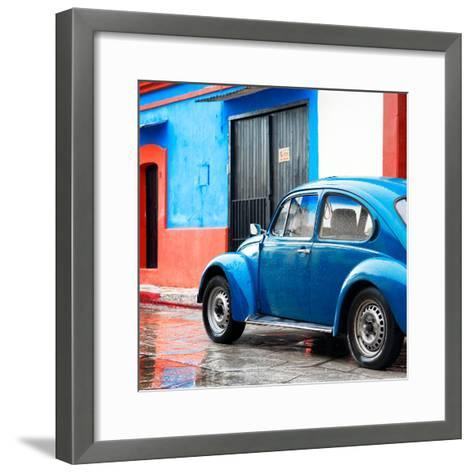 ¡Viva Mexico! Square Collection - VW Beetle and Blue Wall II-Philippe Hugonnard-Framed Art Print