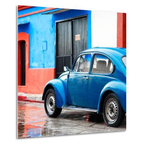 ¡Viva Mexico! Square Collection - VW Beetle and Blue Wall II-Philippe Hugonnard-Metal Print