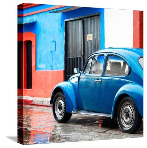 ¡Viva Mexico! Square Collection - VW Beetle and Blue Wall II-Philippe Hugonnard-Stretched Canvas Print