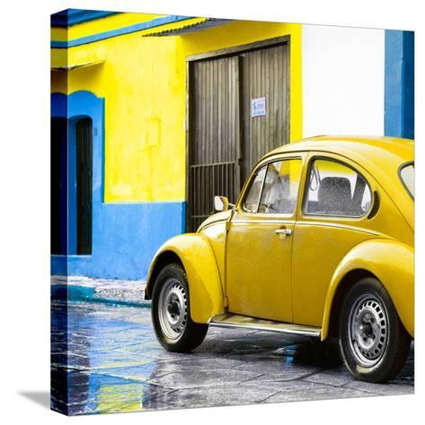 ¡Viva Mexico! Square Collection - VW Beetle and Yellow Wall II-Philippe Hugonnard-Stretched Canvas Print
