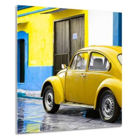 ¡Viva Mexico! Square Collection - VW Beetle and Yellow Wall II-Philippe Hugonnard-Metal Print