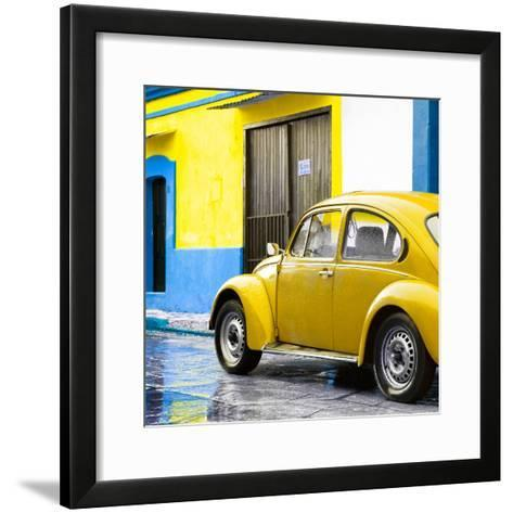¡Viva Mexico! Square Collection - VW Beetle and Yellow Wall II-Philippe Hugonnard-Framed Art Print