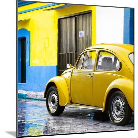 ¡Viva Mexico! Square Collection - VW Beetle and Yellow Wall II-Philippe Hugonnard-Mounted Photographic Print