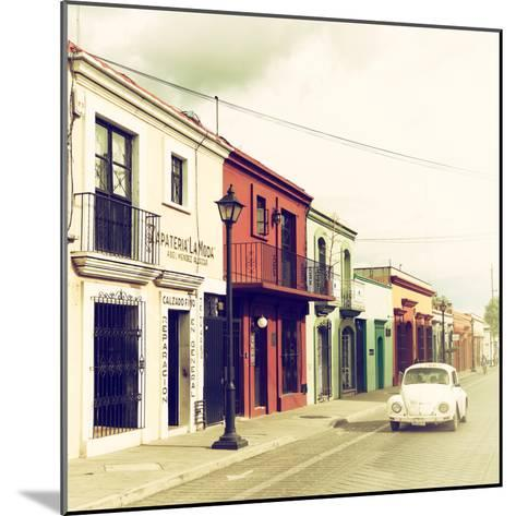 ¡Viva Mexico! Square Collection - Colorful Facades and White VW Beetle Car VI-Philippe Hugonnard-Mounted Photographic Print