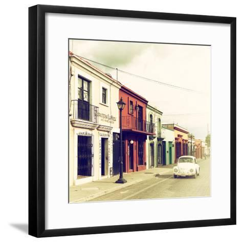¡Viva Mexico! Square Collection - Colorful Facades and White VW Beetle Car VI-Philippe Hugonnard-Framed Art Print