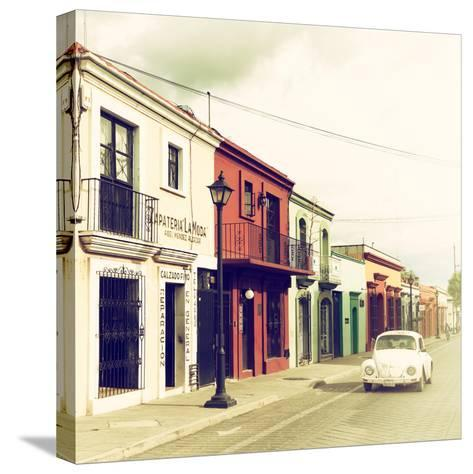 ¡Viva Mexico! Square Collection - Colorful Facades and White VW Beetle Car VI-Philippe Hugonnard-Stretched Canvas Print