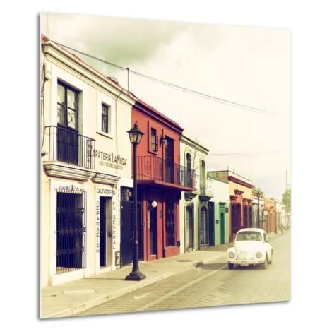 ¡Viva Mexico! Square Collection - Colorful Facades and White VW Beetle Car VI-Philippe Hugonnard-Metal Print