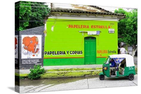 "¡Viva Mexico! Collection - Green ""Estrella""-Philippe Hugonnard-Stretched Canvas Print"
