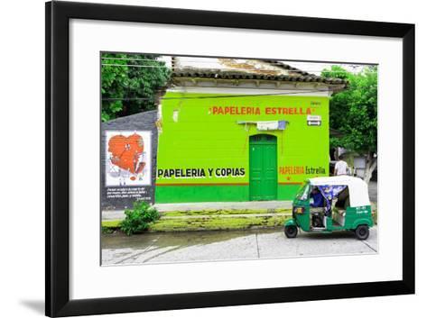 "¡Viva Mexico! Collection - Green ""Estrella""-Philippe Hugonnard-Framed Art Print"