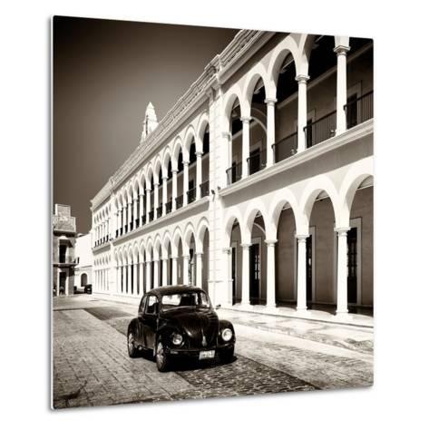 ¡Viva Mexico! Square Collection - Black VW Beetle in Campeche II-Philippe Hugonnard-Metal Print