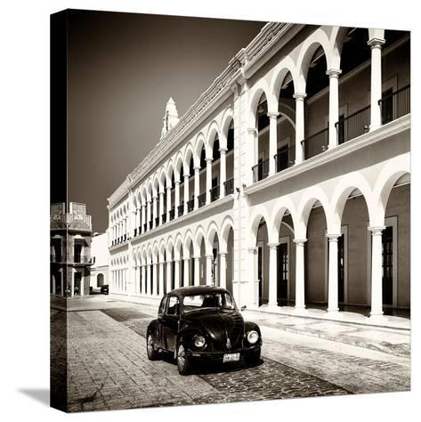 ¡Viva Mexico! Square Collection - Black VW Beetle in Campeche II-Philippe Hugonnard-Stretched Canvas Print