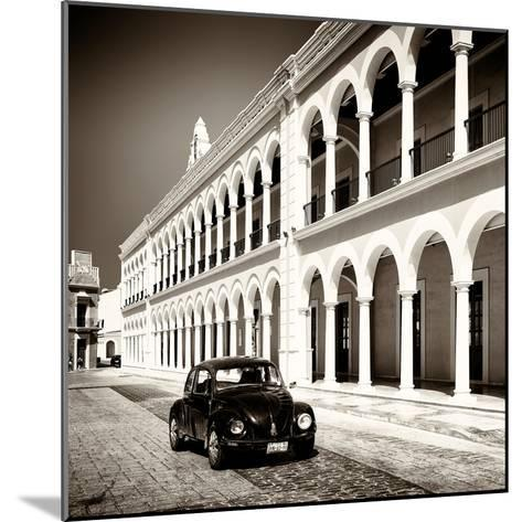 ¡Viva Mexico! Square Collection - Black VW Beetle in Campeche II-Philippe Hugonnard-Mounted Photographic Print