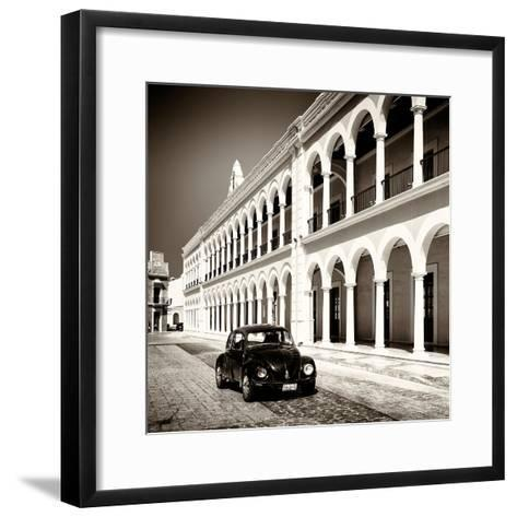 ¡Viva Mexico! Square Collection - Black VW Beetle in Campeche II-Philippe Hugonnard-Framed Art Print
