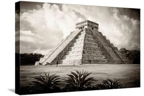 ¡Viva Mexico! B&W Collection - El Castillo Pyramid I - Chichen Itza-Philippe Hugonnard-Stretched Canvas Print