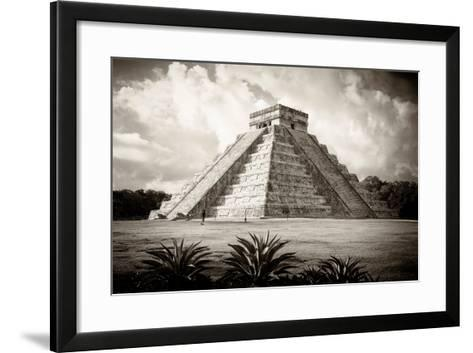 ¡Viva Mexico! B&W Collection - El Castillo Pyramid I - Chichen Itza-Philippe Hugonnard-Framed Art Print