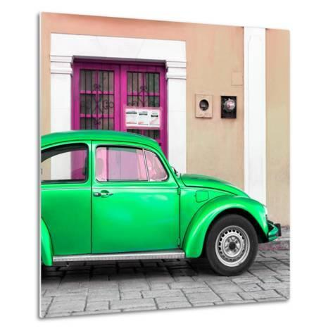 ¡Viva Mexico! Square Collection - The Green VW Beetle Car with Salmon Street Wall-Philippe Hugonnard-Metal Print