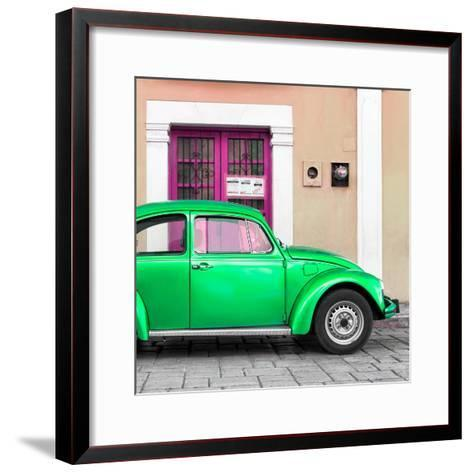 ¡Viva Mexico! Square Collection - The Green VW Beetle Car with Salmon Street Wall-Philippe Hugonnard-Framed Art Print