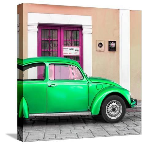 ¡Viva Mexico! Square Collection - The Green VW Beetle Car with Salmon Street Wall-Philippe Hugonnard-Stretched Canvas Print