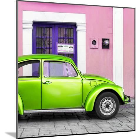 ¡Viva Mexico! Square Collection - The Kelly Green VW Beetle Car with Light Pink Street Wall-Philippe Hugonnard-Mounted Photographic Print