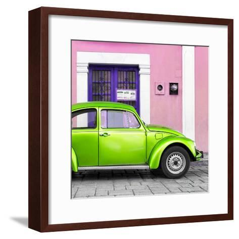 ¡Viva Mexico! Square Collection - The Kelly Green VW Beetle Car with Light Pink Street Wall-Philippe Hugonnard-Framed Art Print