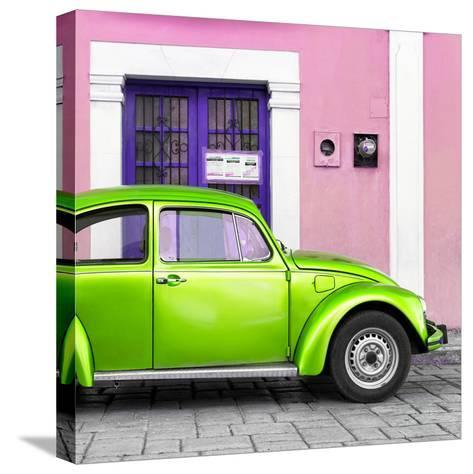 ¡Viva Mexico! Square Collection - The Kelly Green VW Beetle Car with Light Pink Street Wall-Philippe Hugonnard-Stretched Canvas Print
