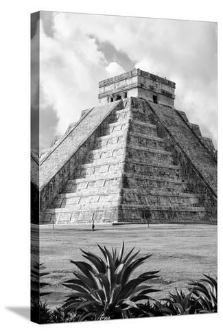 ?Viva Mexico! B&W Collection - El Castillo Pyramid V - Chichen Itza-Philippe Hugonnard-Stretched Canvas Print
