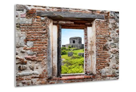 ?Viva Mexico! Window View - Ancient Mayan Fortress in Tulum-Philippe Hugonnard-Metal Print