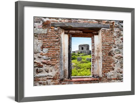 ?Viva Mexico! Window View - Ancient Mayan Fortress in Tulum-Philippe Hugonnard-Framed Art Print