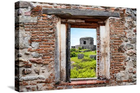 ?Viva Mexico! Window View - Ancient Mayan Fortress in Tulum-Philippe Hugonnard-Stretched Canvas Print