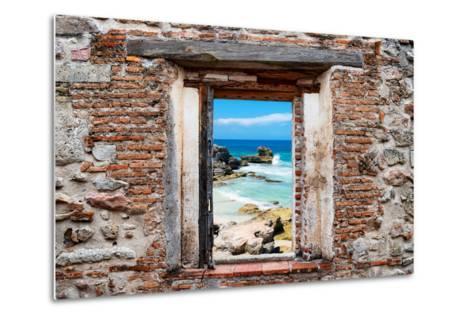 ?Viva Mexico! Window View - Isla Mujeres Coastline-Philippe Hugonnard-Metal Print