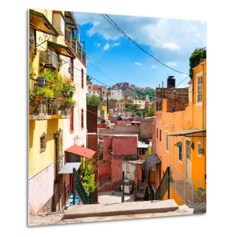 ¡Viva Mexico! Square Collection - Colorful Street in Guanajuato-Philippe Hugonnard-Metal Print